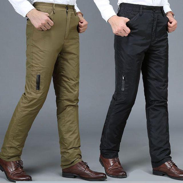 Pantalones de Los Hombres de Negocios de mediana edad los hombres de pato blanco abajo desmontable espesar ropa exterior pantalones de Invierno Acolchado Pantalones Verde Del Ejército 10190