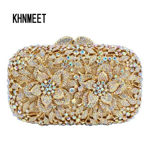 AB Gold Luxury Crystal Diamond Evening Clutch Bag bridal Wedding Sparkly  Rhinestone Cocktail banquet Bag pochette Purse SC437 c3abd7f5b90b