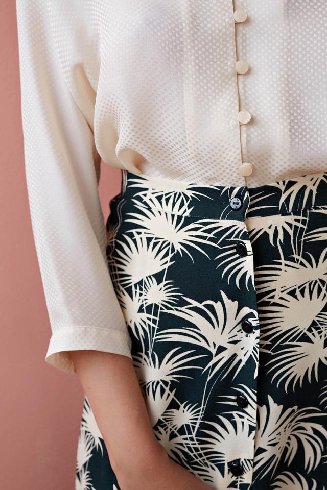 Женская юбка, коллекция весна лето 2019, винтажная однобортная юбка с пальмовым принтом - 2