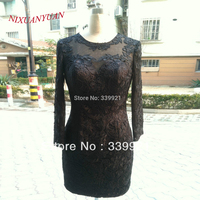 NIXUANYUAN 2017 New Real Photo Mini Long Sleeves Cocktail Dress Lace Dress Party See Through Straight Homecoming Gowns 2017