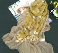 Цветок Шелковый креп шифон шарф с цветочной вышивкой Orange и кружева фантазии шаль платок шаль 200 см x 60 см бесплатная доставка