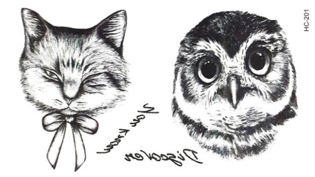 5pcs Owl & Cat Fashion Temporary Tattoo Stickers Animal Temporary Body Art Waterproof Tattoo Pattern HC201