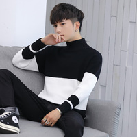 2018 winter men sweater thicken Men's slim half mens turtleneck sweater knit slim long sleeve Korean version
