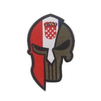Parche moral de la bandera nacional espartana del cráneo de Croacia emblema táctico insignias militares del casco apliques parches bordados