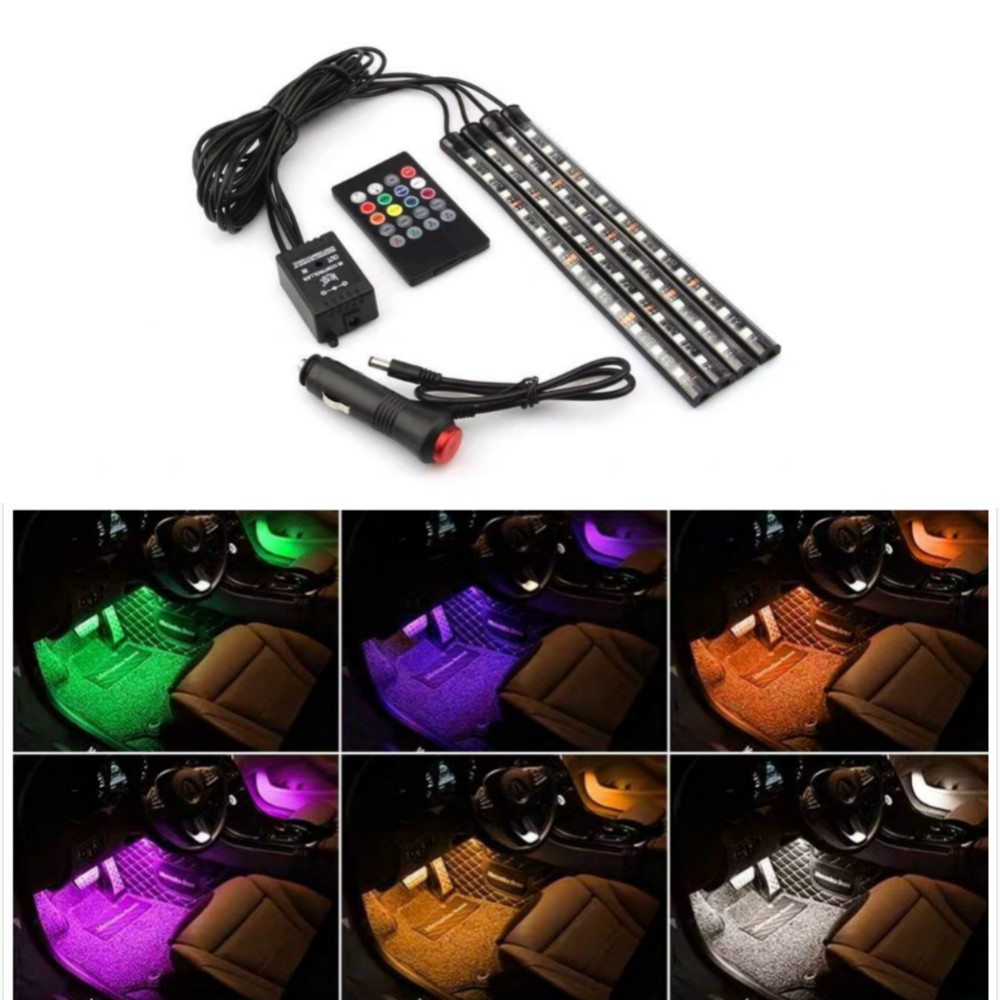 Image 3 - JURUS 4Pcs RGB Flexible Strip Led Car lights Interior Car Ambient Light Atmosphere Lamp Wireless Remote 12V Cigarette Lighter-in Decorative Lamp from Automobiles & Motorcycles