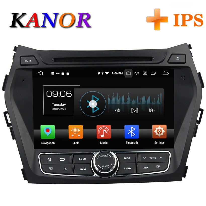 KANOR 4+32g IPS android 8.0 octa core 2din car dvd for hyundai santa fe ix45 2010 2011 2013 2016 car radio multimedia gps player цена