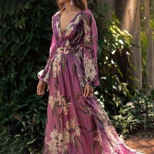 Women Party Elegant Long Dress Sleeve Deep V Sexy Robe Dresses V-Neck Flower Print Purple Vintage Maxi