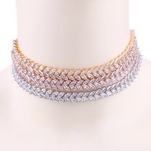 New Arrival WEIMANJINGDIAN Brand Marquise Leaf Cubic Zirconia Zircon CZ Shinning Tennis Choker Necklaces for Women Jewelry