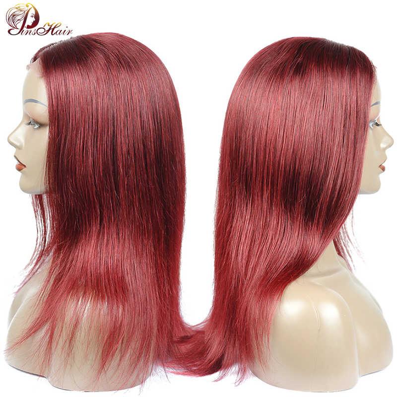 Pinshair 99J czerwone koronki przodu włosów ludzkich peruk dla czarnych kobiet burgundii peruwiański proste włosy ludzkie peruki nie Remy włosy koronki zamknięcie peruka