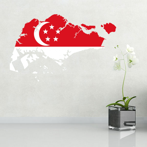 flag map of singapore wall vinyl sticker custom made home decoration
