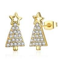 Special CHRISTMAS GIFT Tree Design Stud Earrings LKN18KRGPE1609 Girls Xmas Party Earring For Women 3 Metal