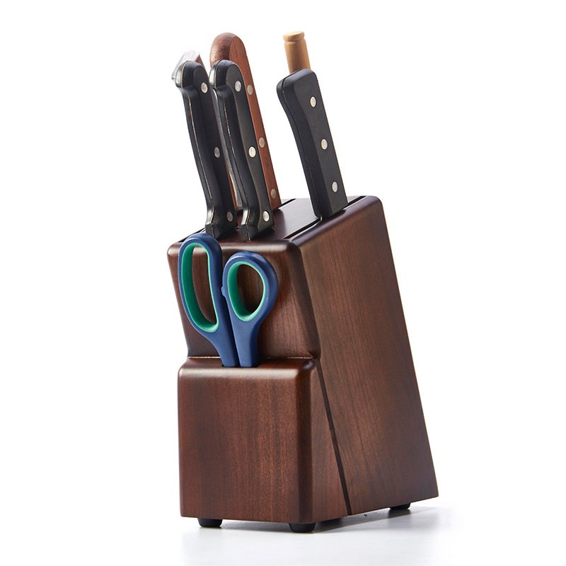 Rubber Wood Excellent Knife Holder Kitchen Chef Knife Rack Multifunction Eco-Friendly Knife Block Stand Storage Organizer