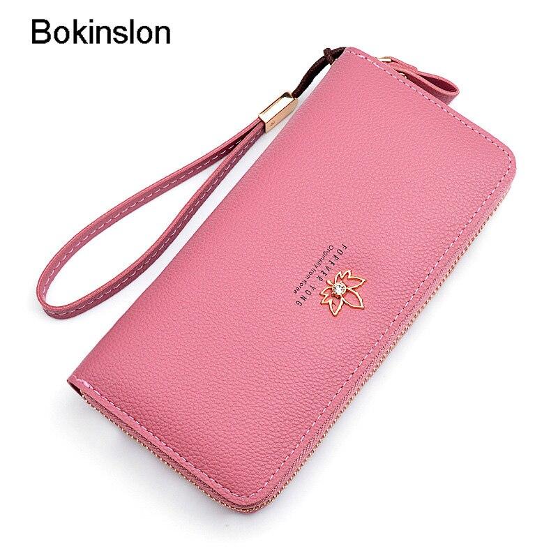 Bokinslon Woman Wallet Brand Designer PU Leather Casual Girl Wallet Long Section Zipper Women Wallet Fashion цена