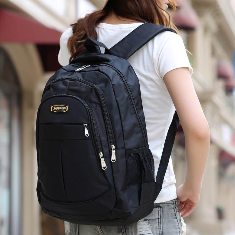 2016 Fashion Unisex Black Laptop Backpack Men School Bags For Teenage Girls Boys Large Capacity Nylon Bagpack Bag Mochila Q5