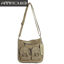 Annmouler Vintage Women Leather Bag Pu Washed Leather Crossbody Bag