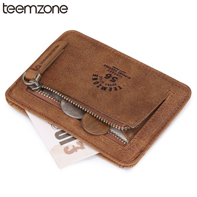 teemzone New Style Vintage Unisex Men Crazy Horse Leather Clutch Coin Wallet Simple Card Holder ID Credit Card Coin Holder K801