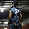 2016 New Black Label Society Male Vest Denim Vest Waistcoats Motorcycle Jackets Punk Top Free Shipping 5XL SIZE