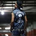 2016 New Black Label Society Masculino Colete Jeans Coletes Colete Revestimentos Da Motocicleta Do Punk Top Frete Grátis TAMANHO 5XL