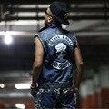 2016 Nueva Label Society Negro Masculino Chaleco Denim Chaleco Chalecos Chaquetas de La Motocicleta Punky Envío Libre Superior 5XL TAMAÑO