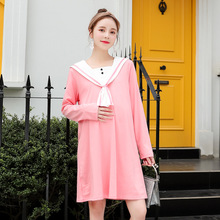 New Loose Korean Dress 2019 Spring and Autumn Pure Cotton Colour Strip Medium Long Fashion Size fashion Fat sister