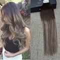 Brilho completo 20 Pcs 50g Fita Balayage Ombre Cor #4 Marrom em Mix cabelo Com cabelo Castanho Ombre #4 e #24 Do Cabelo Fita Dupla Face extensões