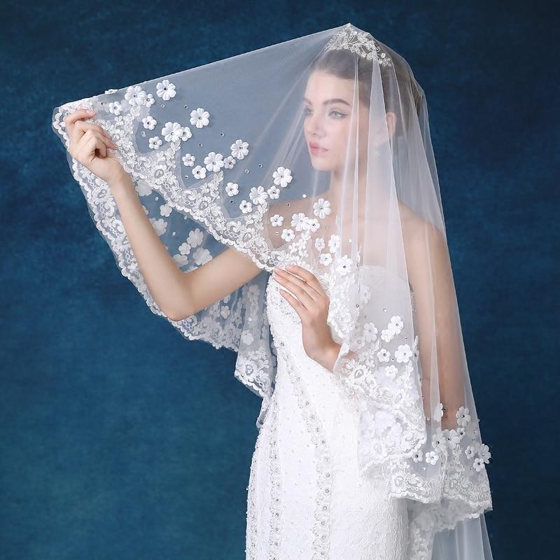 ווייל Mariage לבן / שנהב 4M אורך הקשתות תחרה אדג 'ראש כלה רעלה עם מסרק ארוך חתונה רעלה אביזרים velos de novia