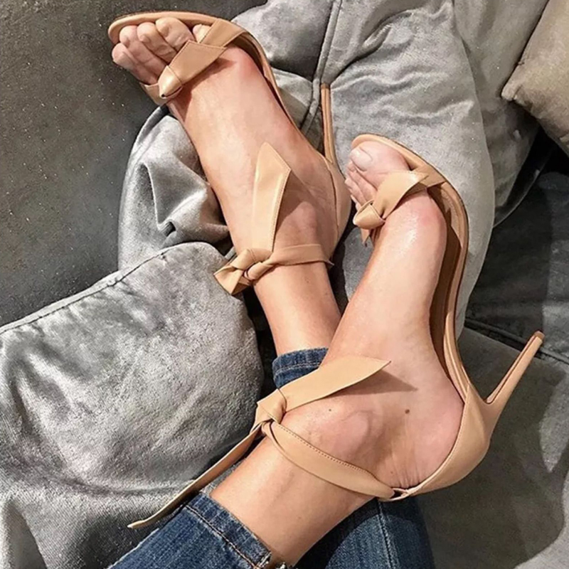 Chaussures Femme Solid Leather Suede Summer Women Shoes Sandalias 10 cm Sexy High Heels Fashion Butterfly Knot Ladies Sandals in High Heels from Shoes