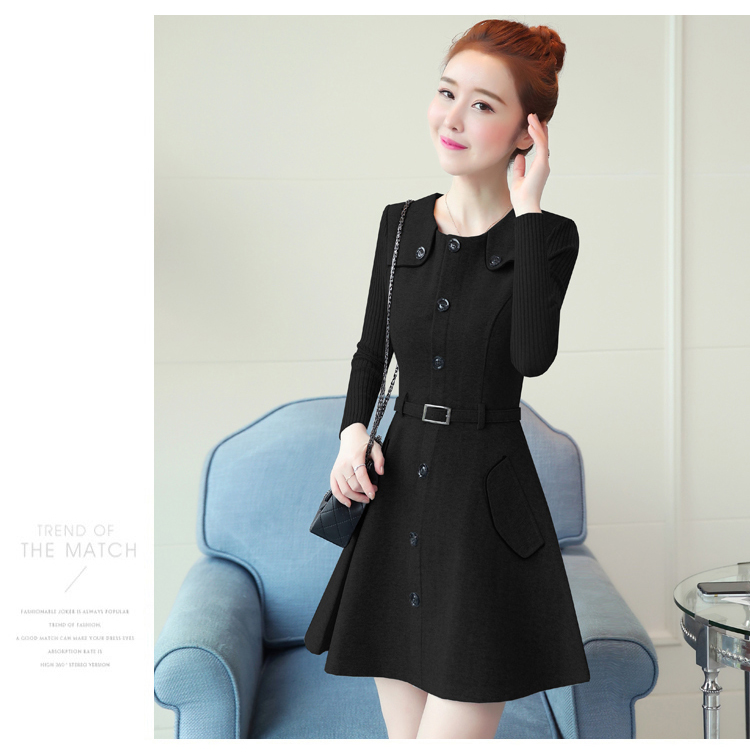 winter new round collar single-breasted cloth dress belt buttons A word women dresses Korean fashion outfit lady vogue vestido 37