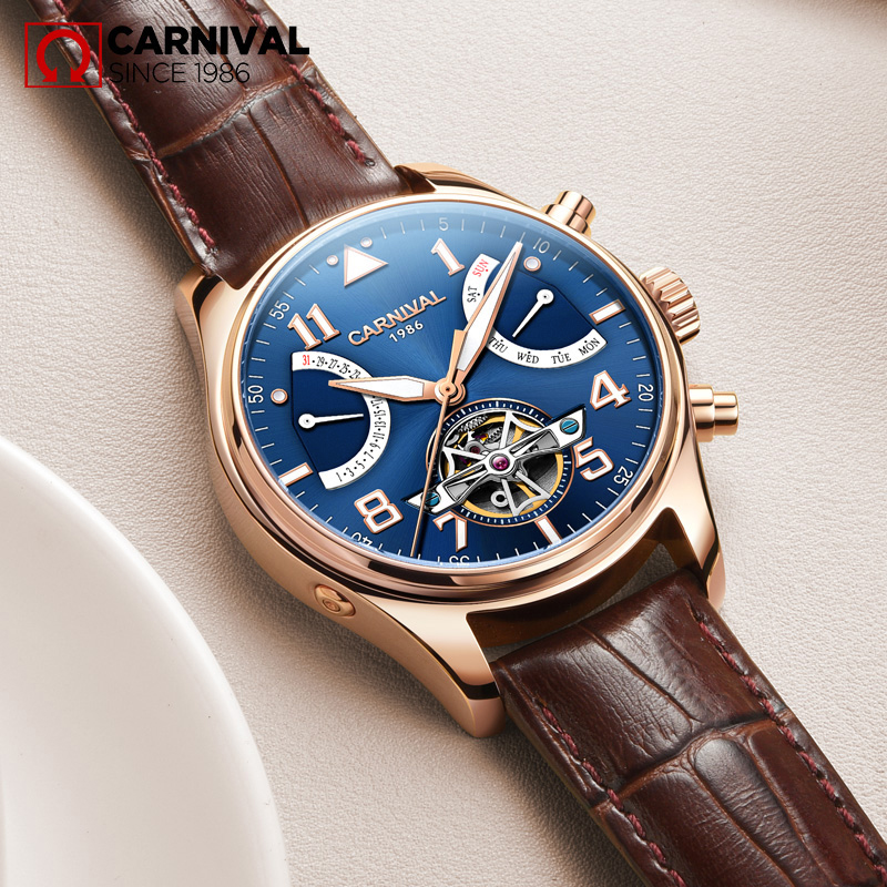 CARNIVAL Sapphire relogio masculino TopBrand Automatic Watches Men Tourbillon Mechanical waterproof Clock Fashion Leather Luxury
