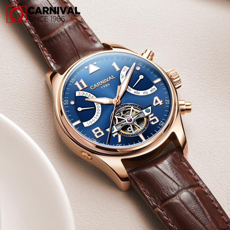 4e2b2af7d59 CARNAVAL Safira TopBrand relogio masculino Relógios Homens Turbilhão  Mecânico Automático à prova d  água Relógio