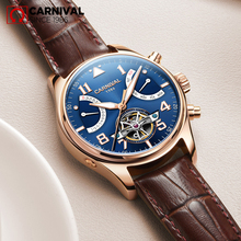 relogio masculino Sapphire Swiss Carnival Automatic Watches Men Tourbillon Mechanical waterproof Clock Fashion Leather Luxury