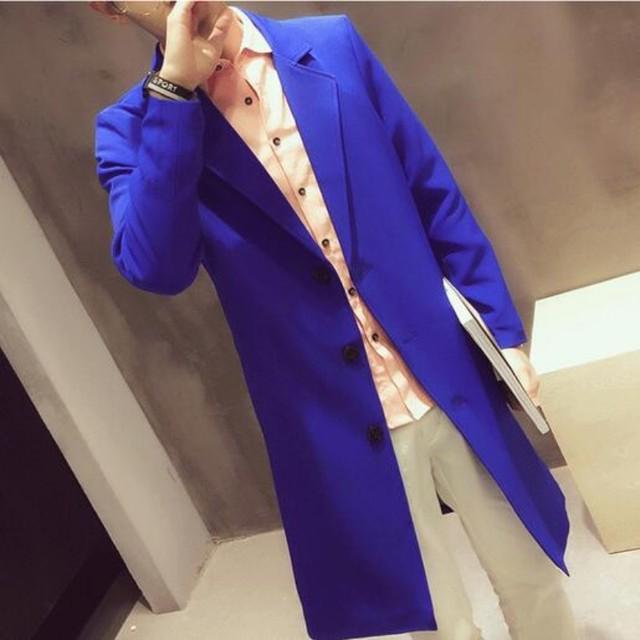 De Calidad superior Otoño Nueva British Moda Hombre Abrigo Largo de Algodón chaqueta Slim Fit Foso de Lana De Los Hombres Outwear Casual Male tamaño