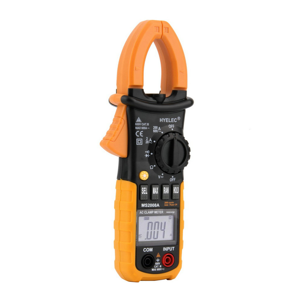 Worldwide 1pc Professional Digital AC Clamp Meter Back light fluke Multimetro Clamps Leakage MS2008A Multimeter 2000 Countsest fluke f302 1 6 lcd ac clamp meter yellow red 3 x aaa