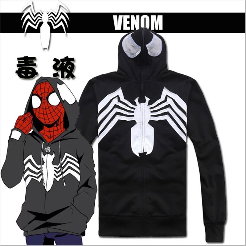 Unisex Venom Cosplay Spider-Man Hoodie Black Cotton Zip up Full Face Eye Holes Casual Hoodies Jackets Hooded Halloween Costume