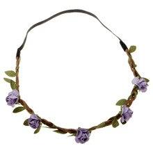 Wedding Accessories Hair Pins Bohemian Boho Hairwear Crown Crystal Flower Wedding Tiara Women Wedding Head Band With Flowers