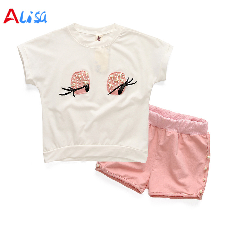 2017Girls Clothing Set Pearl Girls Clothes Set Lovely Long Eyelashes Toddler Girl tops + Pants Girls Suit Kids Clothes