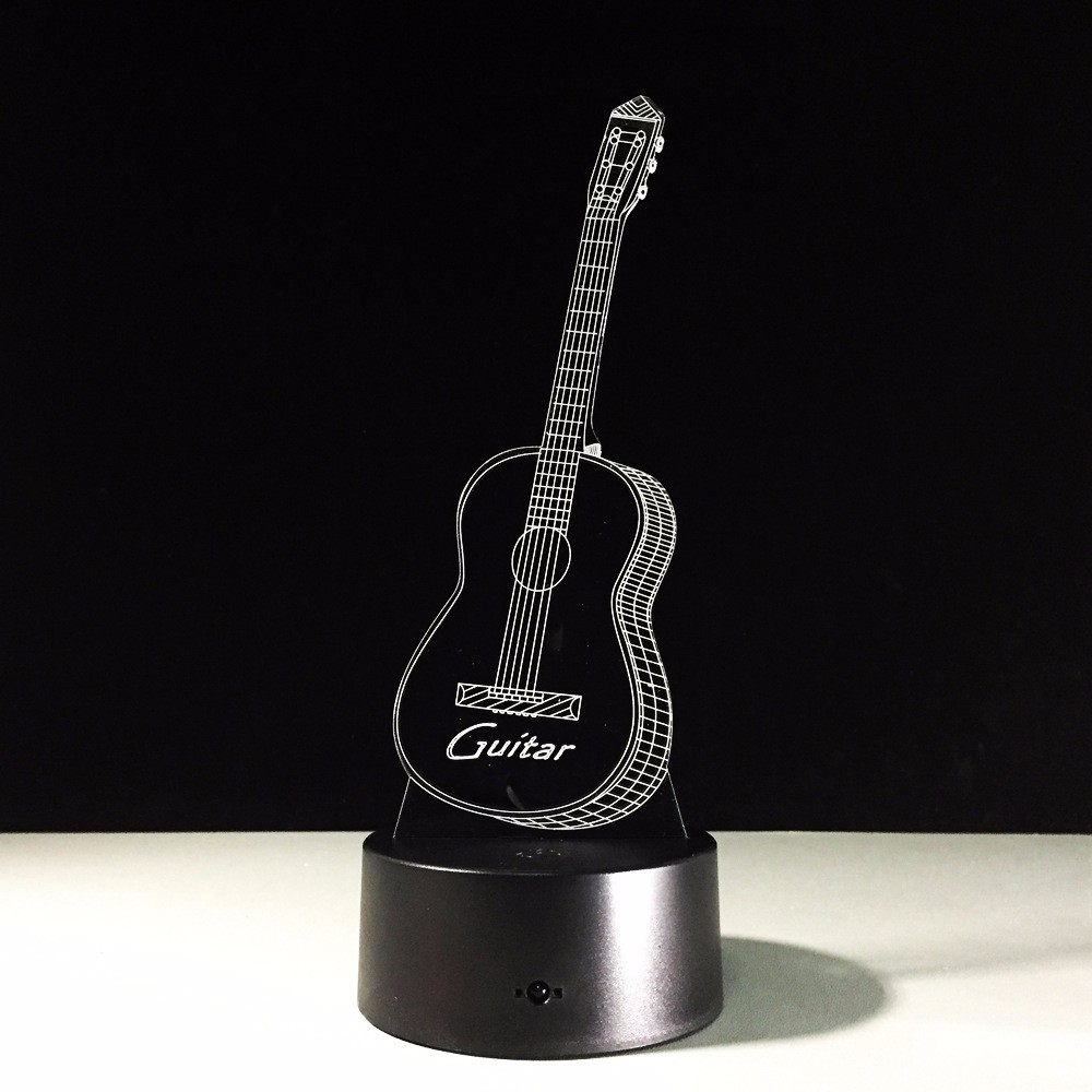 Guitar Shape Music Fans 3D illusion LED Night Light 7 Color Creative Touch Switch USB Powered Desk Table Lava Lamp Bedside Decor