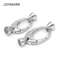 New Design 925 Sterling Silver Micro Pave Zircon Lobster Clasp With End Cap For Pearl Jewelry Necklace Bracelet SC CZ039