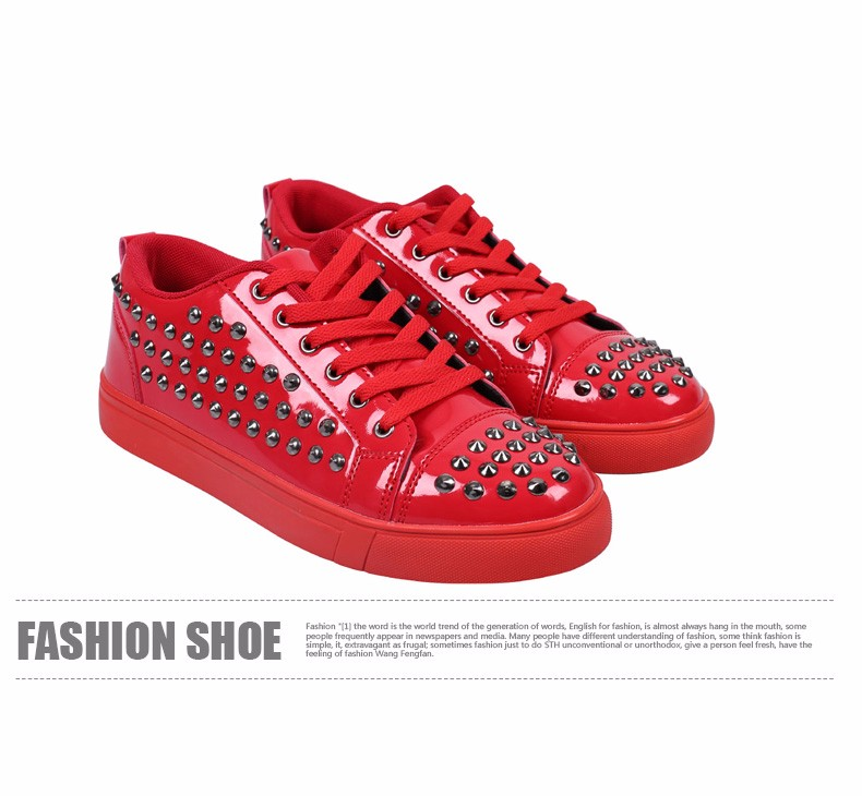 Fashion Patent Leather Men\'s Loubuten Shoes Zapatillas Superstar Casual Low Top Rivets Men Shoes Size 39-44 Round Toe Flats F13 (10)
