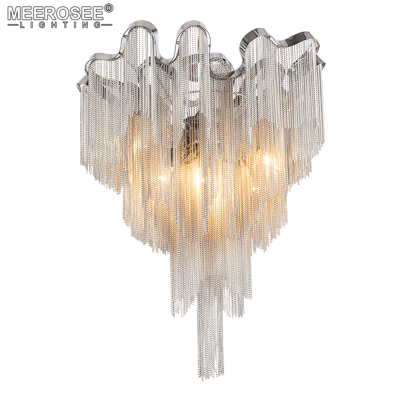 French Empire Chandelier Lighting Fitting Aluminum Silver Chain Suspension Luminaire Hanging Lamp Lustre Chain Light Fixtures