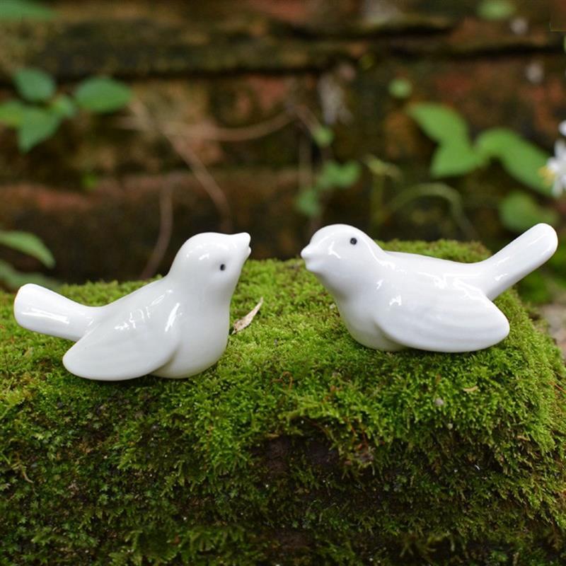2pcs Ceramic Bird Couple Crafts Home Decoration Handicraft Ornament Porcelain Animal Pigeons Figurines Wedding Decorations