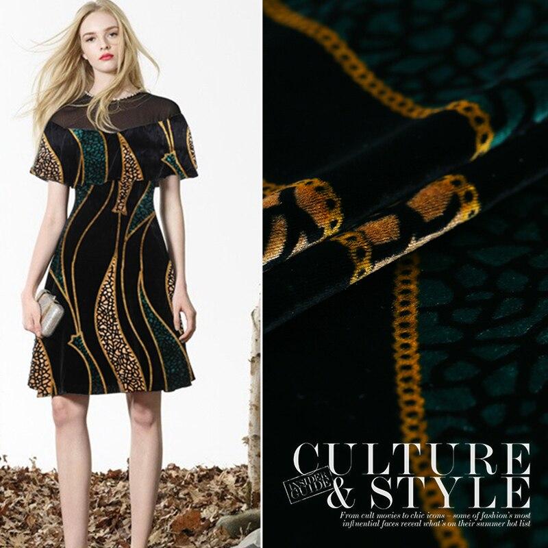 Printed Velvet Fabric Drape Silk Velvet Fabric Soft Delicate Gold Velvet Clothing Cheongsam Silk Fabric Wholesale Silk Cloth