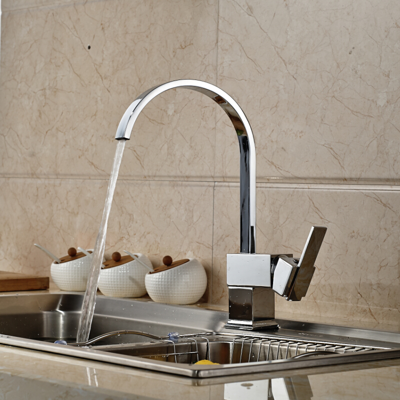 Single Handle Deck Mounted Waterfall Kitchen Sink Faucet Chrome Finished Hot and Cold Bathroom Basin Mixer