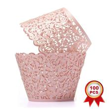 METABLE 100pcs Cupcake Wrappers Artistic Bake Cake Paper Cups Little Vine Lace Laser Cut Liner Baking Cup Muffin Case Trays,Pink