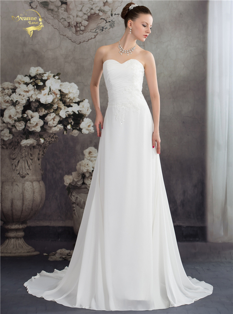Jeanne Love New Arrival Fashion Vintage Wedding Dresses Bruidsjurken Chiffon Lace Bridal 2017 Robe De