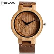 YISUYA Creative Bamboo Watches Deer Head Dial Men Wrist Watch Simple Nature Wood Watch Fashion Women Genuine Leather Band Clock