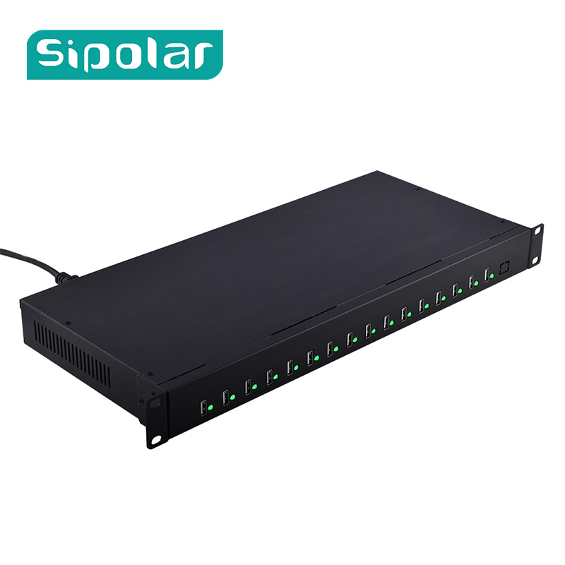 Sipolar 16 Port USB2.0 Hub Chargeur Data Sync Transfert Et Station De Recharge USB Splitter Construit Dans 5 V 40A Puissance adaptateur A-165