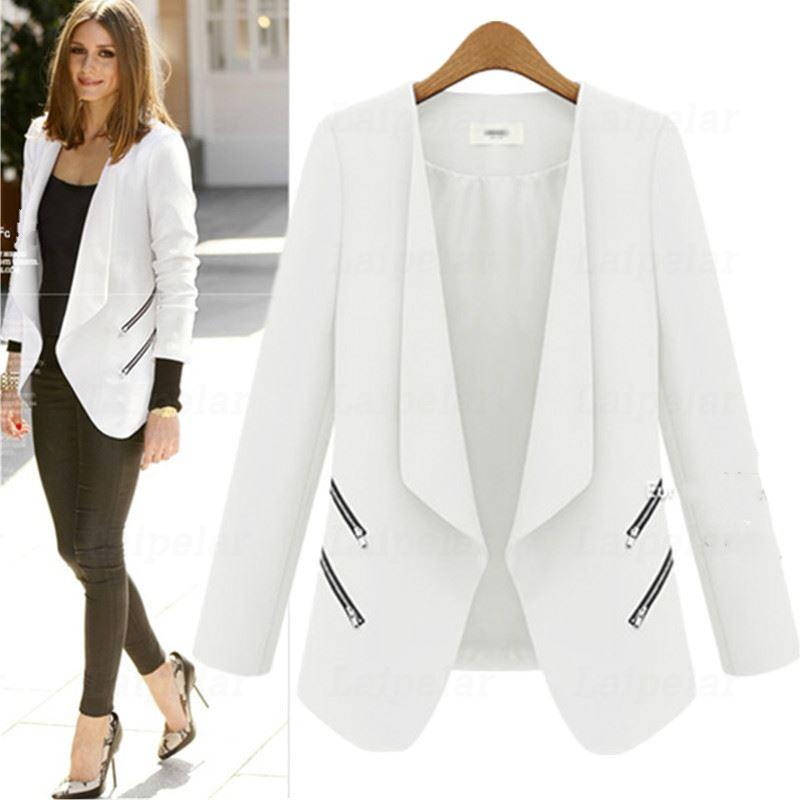Ladies Blazer Zipper Pocket Jacket Long Sleeve Blaser Women Single Button Slim Suit Jacket Female Blazer Laipelar Autumn Top