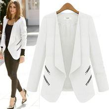 Ladies Blazer Zipper Pocket Jacket Long Sleeve Blaser Women Single Button Slim Suit Jacket Female Blazer Laipelar Autumn Top все цены