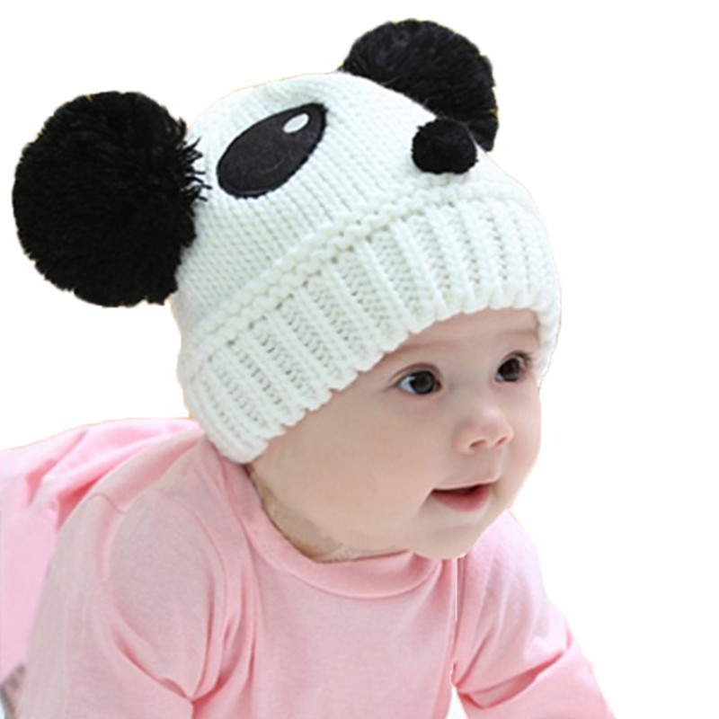 Cartoon Baby Hats Panda Knitted Cap Autumn Winter Warm Newborn Caps Beanies Girls Boys Cotton Hats Children Clothing Accessories zea rtm0911 1 children s panda style super soft autumn winter wear cap scarf set blue